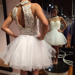 White Sheer Neckline Sleeveless Keyhole Back Short Homecoming Dress