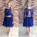 Royal Blue Lace Long Sleeve Two Piece Homecoming Dress With Beading