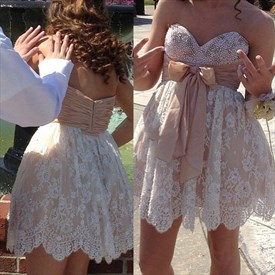 Cute Short Strapless Beaded Lace Homecoming Dress With Embellished Bow