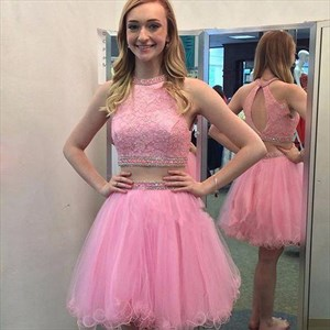 Lovely Knee Length Pink Two Piece Homecoming Dress With Tulle Skirt