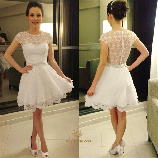 Beautiful White Chiffon And Lace Homecoming Dress With Beaded Waist