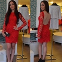 Elegant Red Knee Length Long Sleeve Lace Formal Dress With Sheer Back