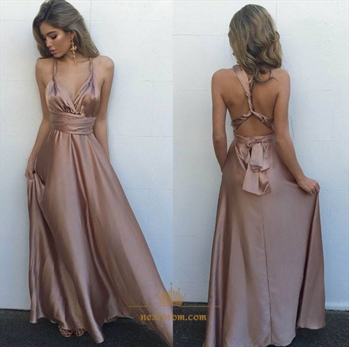 Simple Elegant Floor Length Sleeveless Evening Dress With Open Back