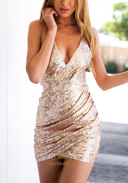 Simple Spaghetti Strap V-Neck Embellished Sequin Bodycon Short Dress