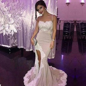 Spaghetti Strap Lace Embellished Floor Length Mermaid Evening Dress