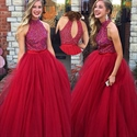 A-Line Floor Length Beaded Bodice Tulle Ball Gown With Keyhole Back