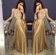 Elegant A-Line Long Sleeve Two Piece Evening Dress With Lace Bodice