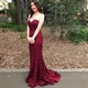 Burgundy Strapless Floor Length Backless Mermaid Lace Evening Dress