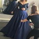 Off Shoulder Long Sleeve Beaded Bodice A Line Floor Length Ball Gown