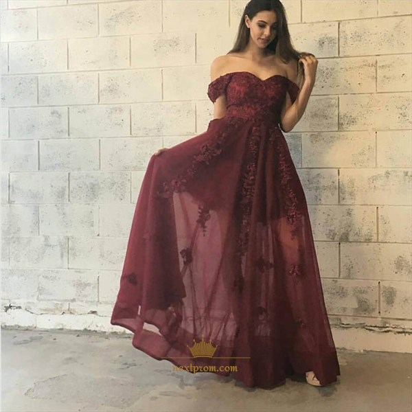 Off The Shoulder A-Line Floor Length Lace Applique Chiffon Prom Dress