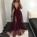 Burgundy Spaghetti Strap Deep V-Neck Sheer Tulle Dress With Sequins