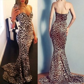 Elegant Floor Length Sheath Mermaid Strapless Leopard Print Prom Dress
