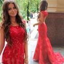 Elegant Red Cap Sleeve Long Mermaid Lace Prom Dress With Keyhole Back