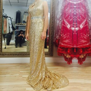 Sleeveless Floor Length Mermaid Sequin Prom Dress With Keyhole Detail