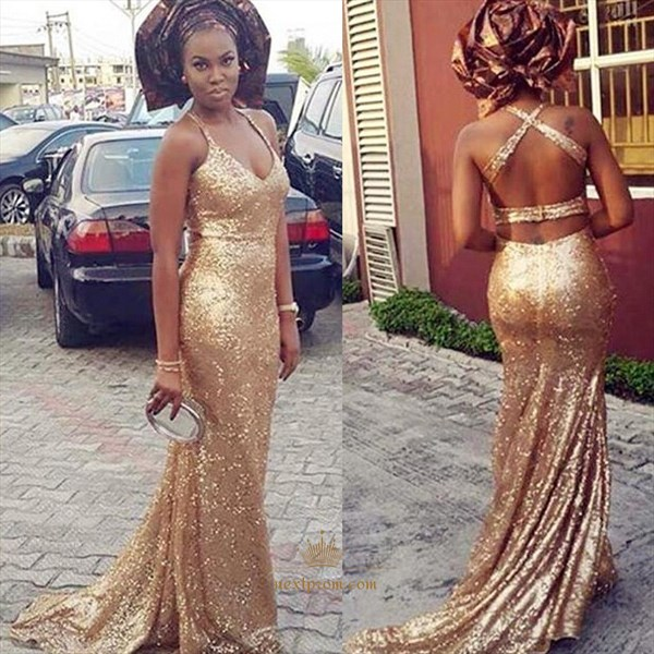 Champagne V Neck Floor Length Sequin Prom Dress With Criss Cross Back