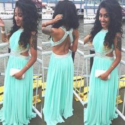 Sleeveless Floor Length Chiffon Dress With Beaded Criss-Crossed Back