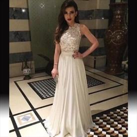 Elegant White Sleeveless Lace Bodice Chiffon Bottom Long Evening Dress