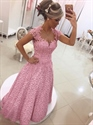 Pink Cap Sleeve Floor Length A-Line Prom Dress With Bow And Sheer Back