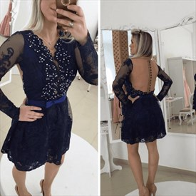 Knee Length Black Long Sleeve Embellished Lace Dress With Sheer Back