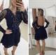 Knee Length Black Long Sleeve Embellished Lace Dress With Sheer Back