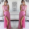 Lovely Cap Sleeve Lace Bodice Two Piece Chiffon Prom Dress With Slit