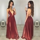 A-Line Spaghetti Strap Deep V Neck Backless Chiffon Dress With Slit