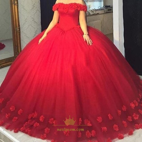 Elegant Red Off The Shoulder Tulle Floor Length Ball Gown With Lace