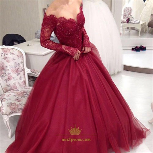 Burgundy Lace Bodice Off Shoulder Long Sleeve A-Line Tulle Prom Dress