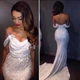 White Off The Shoulder Sequin Mermaid Prom Dress With Embellishment