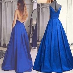 Simple Royal Blue V-Neck Floor Length Spaghetti Strap Evening Dress
