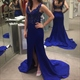 Royal Blue Sleeveless V Neck Lace Bodice Mermaid Prom Dress With Slit