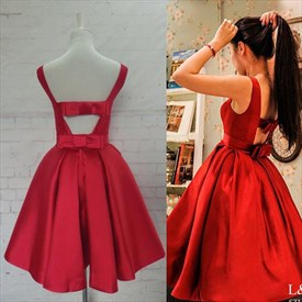 Lovely Red Sleeveless Short A-Line Homecoming Dress With Bow In Back