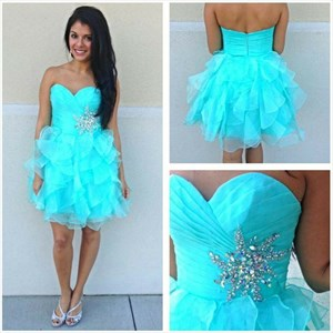 Strapless Turquoise Short Cocktail Dress With Embellished Waistline
