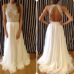 White Sleeveless Beaded Bodice Keyhole Back Chiffon Long Prom Dress