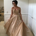 Champagne Off Shoulder Sequin Bodice A-Line Floor Length Prom Dress