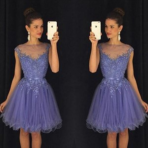 Knee Length Cap Sleeve Sheer Neckline A-Line Lace Tulle Cocktail Dress