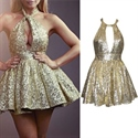 Champagne A-Line Halter Backless Sequin Short Dress With Front Keyhole