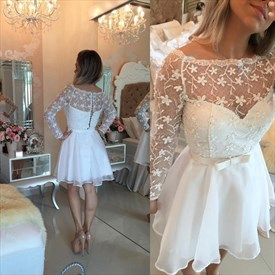 Short White Illusion Lace Bodice Long-Sleeve Chiffon Cocktail Dress
