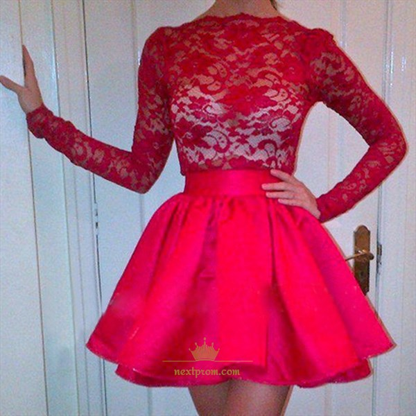 Red Long Sleeve Knee Length Lace Bodice Satin Skirt Homecoming Dress