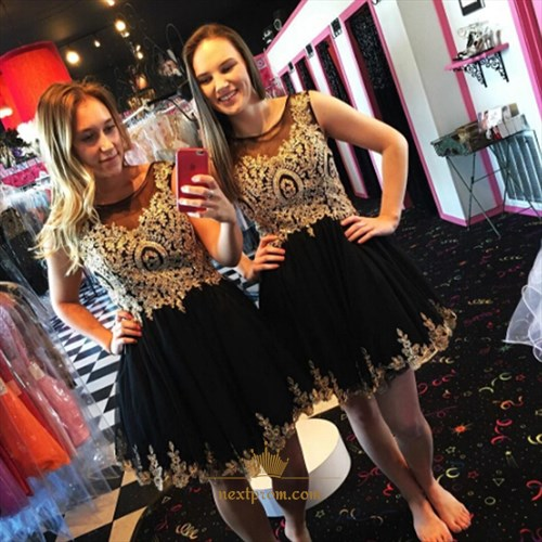 Cute Knee Length Sleeveless Lace Embellished Chiffon Bridesmaid Dress