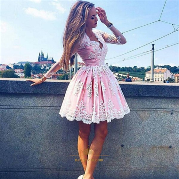 Cute Pink Knee Length Long Sleeve V-Neck A-Line Lace Homecoming Dress