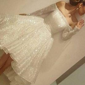 Elegant Off The Shoulder Long Sleeve Tea Length High Low Evening Dress