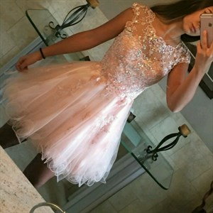 Pink Cap Sleeve Lace Beaded Bodice A-Line Tulle Short Homecoming Dress