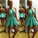 Turquoise High Halter Neck Backless A-Line Dress With Keyhole Front