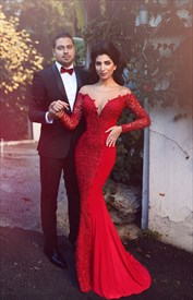 Red Long Sleeve Lace And Chiffon Mermaid Prom Gown With Sheer Neckline