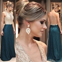 Two Tone Sleeveless Floor Length Mermaid Evening Gown With Sheer Back
