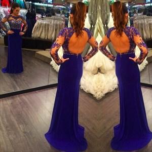 Illusion Long Sleeve Lace Bodice Long Mermaid Dress With Keyhole Back