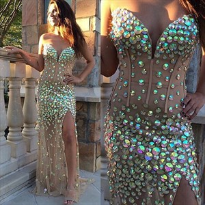 Strapless Sweetheart Beaded Embellished Long Evening Dress With Slit