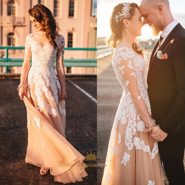 Floor Length Long Sleeve Tulle Dress With Lace Applique Embellished