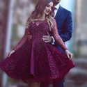 Illusion Neckline Fuchsia Knee Length Long-Sleeve A-Line Beaded Dress